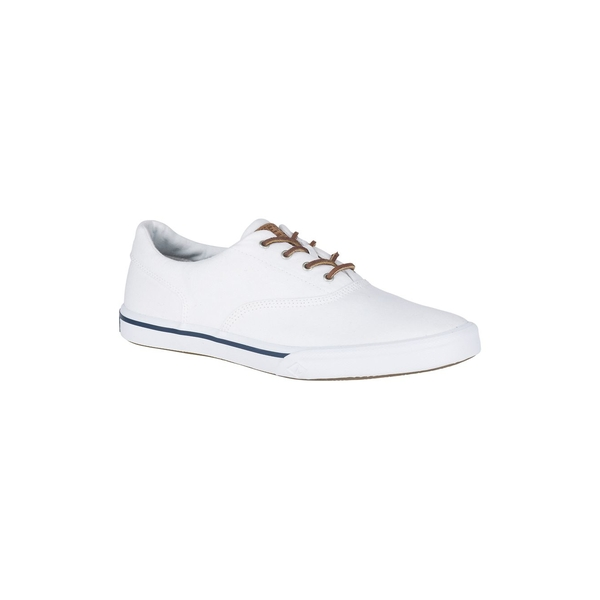 スペリー メンズ スニーカー シューズ Men's Striper II Canvas Low-Top Sneakers White