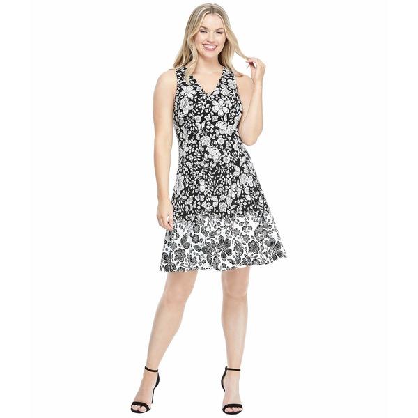 マギーロンドン レディース ワンピース トップス Cotton Floral Fit-and-Flare Dress Black/Soft White
