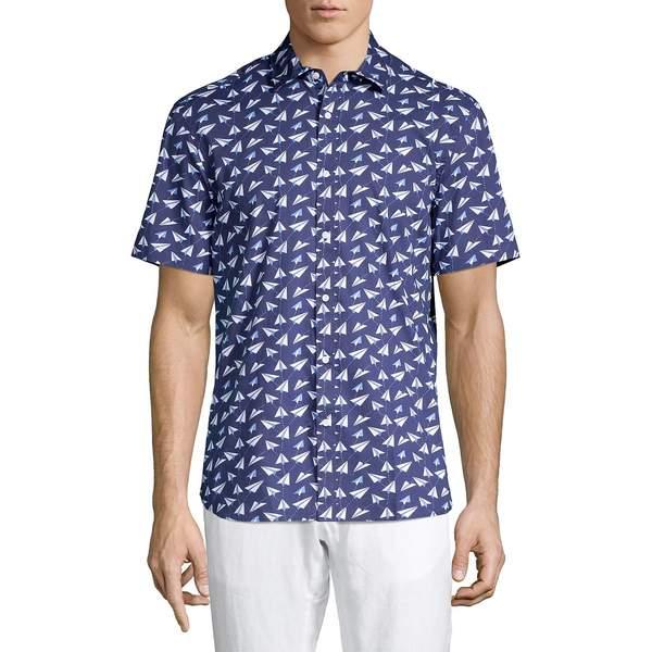 ブラック・ブラウン1826 メンズ シャツ トップス Paper Plane-Print Cotton Shirt Soft Navy