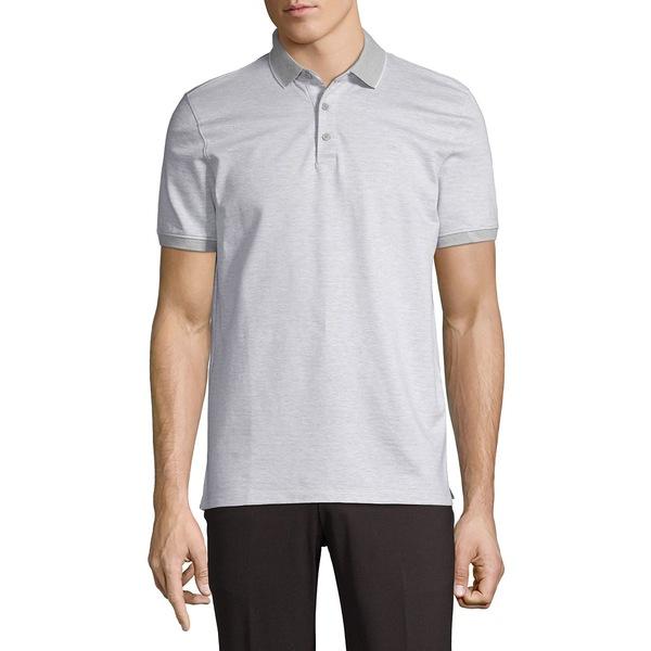 カルバンクライン メンズ シャツ トップス Herringbone Short-Sleeve Cotton Polo Brilliant White