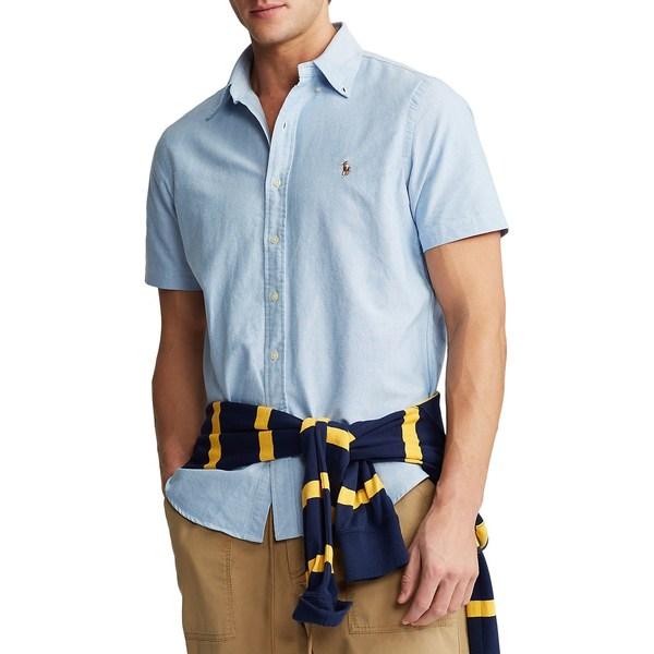ラルフローレン メンズ シャツ トップス Short-Sleeve Logo Oxford Shirt Blue