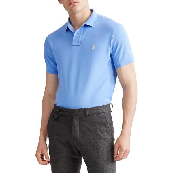 ラルフローレン メンズ シャツ トップス Custom Slim-Fit Mesh Polo Cabana Blue