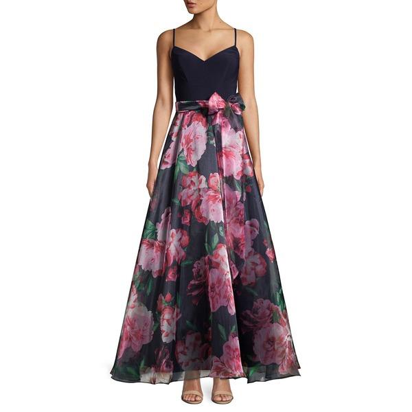 エリザジェイ レディース ワンピース トップス Floral V-Neck Gown Navy Multi
