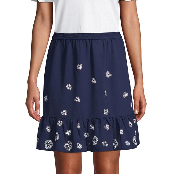 マイケルコース レディース スカート ボトムス Floral-Print Ruffle Skirt True Navy
