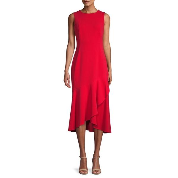 カルバンクライン レディース ワンピース トップス Ruffled A-Line Dress Red