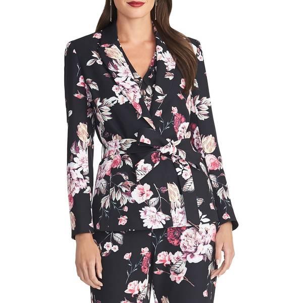 ライチェルレイチェルロイ レディース コート アウター Floral-Print Self-Tie Blazer Black Combo