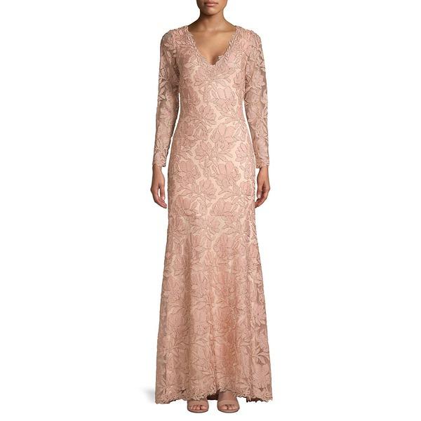 タダシショージ レディース ワンピース トップス Floral Embroidered Gown Petal Gold