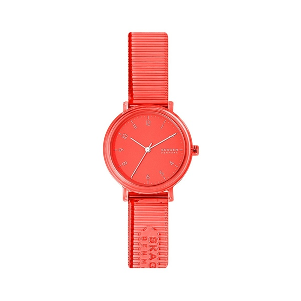 スカーゲン レディース 腕時計 アクセサリー Aaren Transparent Nylon & Faux Leather 3-Hand Watch Coral