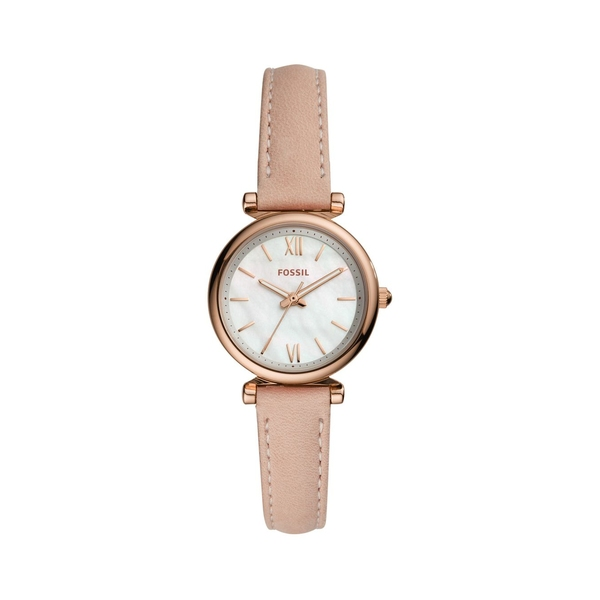 フォッシル レディース 腕時計 アクセサリー Carlie Mini 3-Hand Rose Goldtone Stainless Steel & Leather-Strap Watch Pink