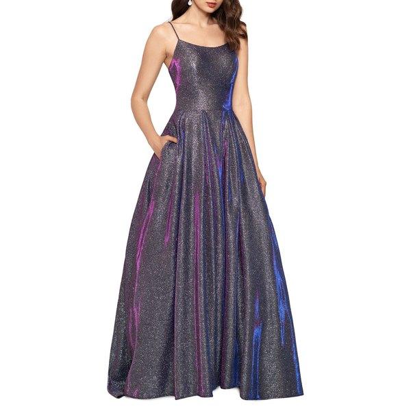 ベッツィ アンド アダム レディース ワンピース トップス Squareneck Glitter Gown Black Multi
