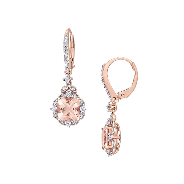 ソナティナ レディース ピアス&イヤリング アクセサリー 14K Rose Gold, Morganite, White Sapphire & 0.16 TCW Diamond Halo Drop Earrings Morganite