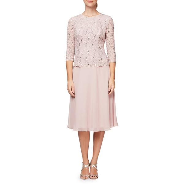 アレックスイブニングス レディース ワンピース トップス Tea Length Mock A-Line Dress Shell Pink