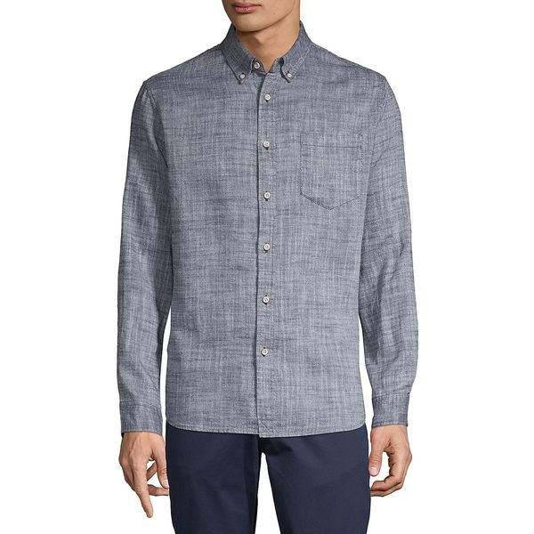 サーフサイドサプライ メンズ シャツ トップス Textured Long-Sleeve Shirt Navy Blazer