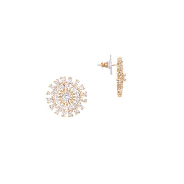 ニナ レディース ピアス&イヤリング アクセサリー Goldplated and Cubic Zirconia Geo Flower Stud Earrings Gold