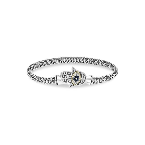 エフィー レディース ブレスレット・バングル・アンクレット アクセサリー Sterling Silver, 18K Yellow Gold, Sapphire & 0.03 TCW Diamond Evil Eye Hamsa Bracelet Silver