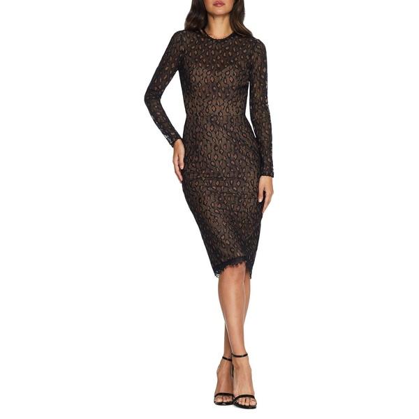 ドレスザポプレーション レディース ワンピース トップス Kay Leopard-Print Mesh Bodycon Dress Black Tan