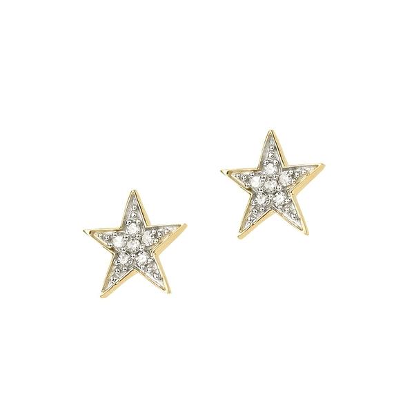 アディナ レイター レディース ピアス&イヤリング アクセサリー Core 14K Yellow Gold & 0.04 TCW Diamond Star Stud Earrings Gold