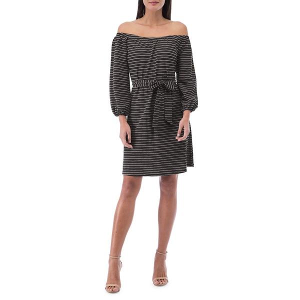 ビーコレクションバイボビュー レディース ワンピース トップス Gertrude Striped Off-The-Shoulder Dress Black Stripe