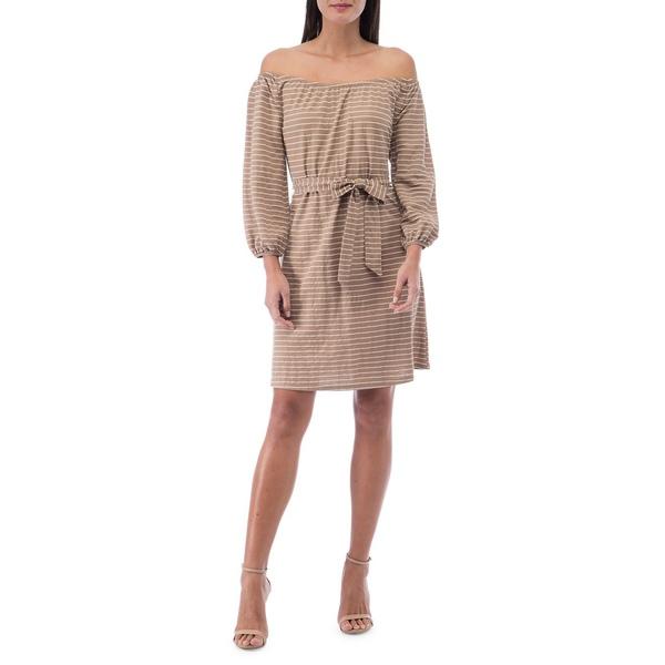 ビーコレクションバイボビュー レディース ワンピース トップス Gertrude Striped Off-The-Shoulder Dress Mocha Stripe