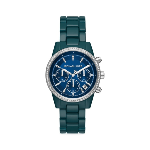 マイケルコース レディース 腕時計 アクセサリー Bradshaw Teal Pavé Stainless Steel Bracelet Chronograph Watch Teal