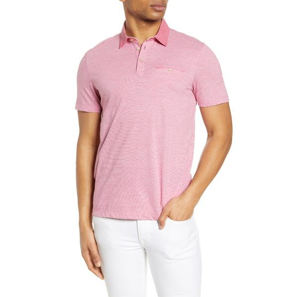 テッドベーカー メンズ ポロシャツ トップス Ted Baker London Gwack Slim Fit Pinstripe Pocket Polo Deep Pink