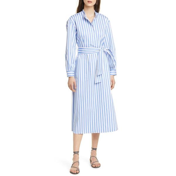 クラブ モナコ レディース ワンピース トップス Club Monaco Half Placket Long Sleeve Stripe Midi Dress Blue Multi