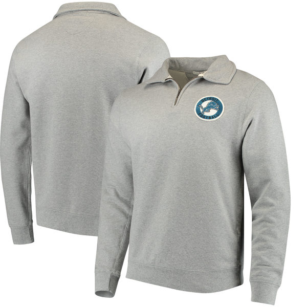 ジャンクフード メンズ シャツ トップス Detroit Lions Junk Food Sideline QuarterZip Pullover Sweater Heathered Gray