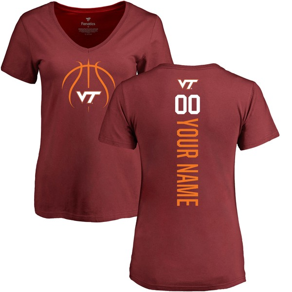 ファナティクス レディース Tシャツ トップス Virginia Tech Hokies Fanatics Branded Women's Basketball Personalized Playmaker VNeck TShirt Maroon