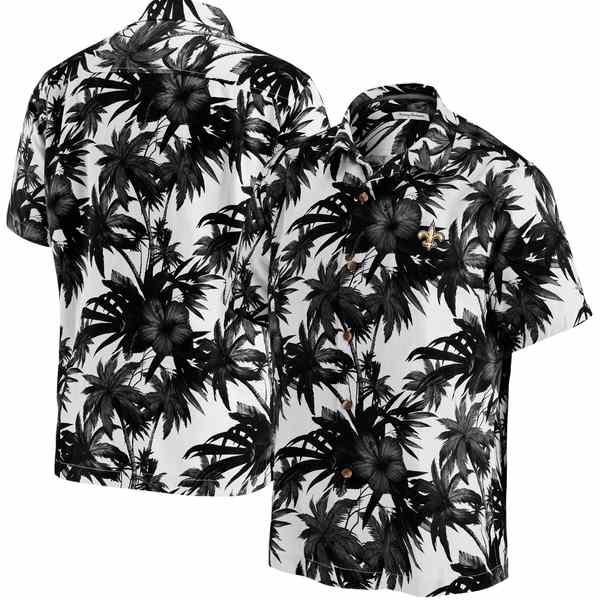 トッミーバハマ メンズ シャツ トップス New Orleans Saints Tommy Bahama Sport Harbor Island Hibiscus Camp ButtonDown Shirt Black