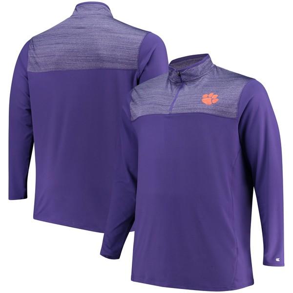 コロシアム メンズ ジャケット&ブルゾン アウター Clemson Tigers Colosseum Big & Tall Savoy QuarterZip Pullover Jacket Purple/Heathered Purple
