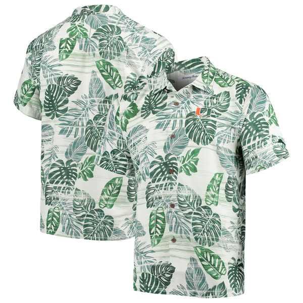 トッミーバハマ メンズ シャツ トップス Miami Hurricanes Tommy Bahama Super Fan Camp Shirt Green