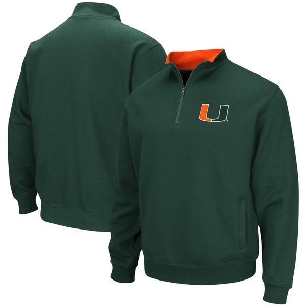 コロシアム メンズ ジャケット&ブルゾン アウター Miami Hurricanes Colosseum Tortugas Logo QuarterZip Pullover Jacket Green