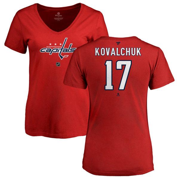 ファナティクス レディース Tシャツ トップス Washington Capitals Fanatics Branded Women's Personalized Team Authentic VNeck TShirt Red