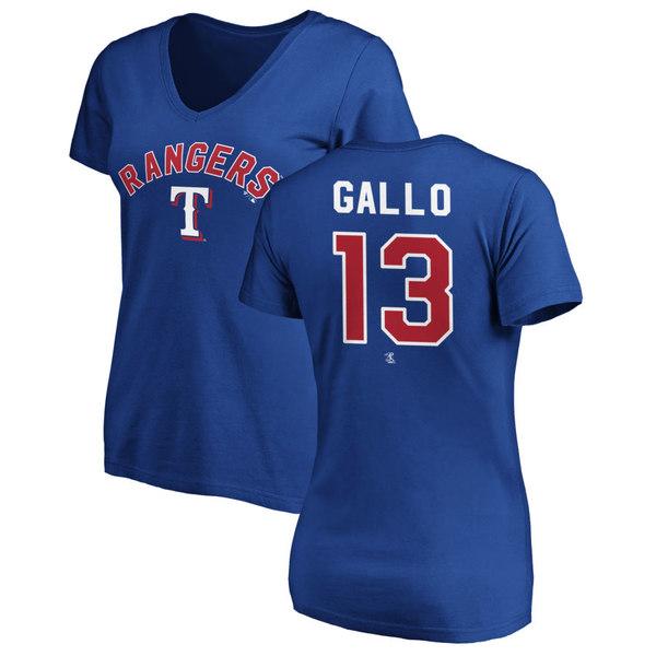 ファナティクス レディース Tシャツ トップス Texas Rangers Fanatics Branded Women's Personalized Winning Streak Name & Number Slim Fit VNeck TShirt Royal
