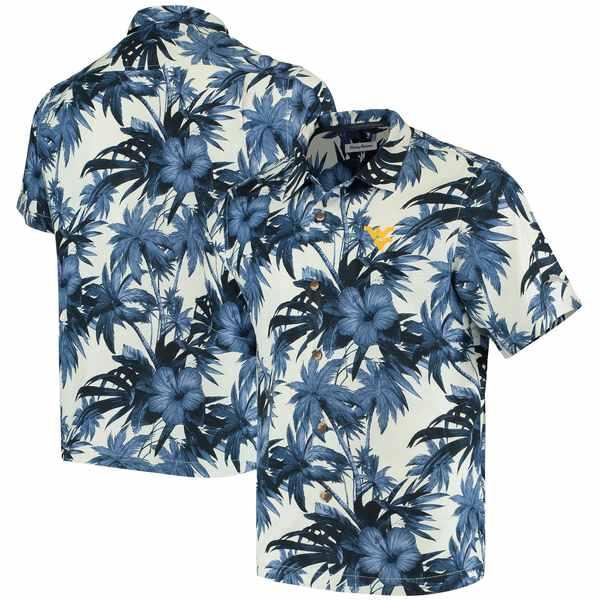 トッミーバハマ メンズ シャツ トップス West Virginia Mountaineers Tommy Bahama Harbor Island Hibiscus ButtonUp Shirt Navy