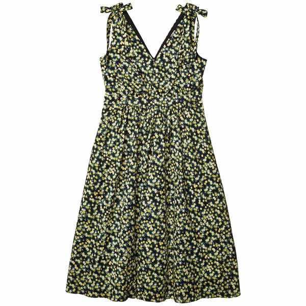 カルバンクライン レディース ワンピース トップス Floral A-Line Dress with Shoulder Ties Black/Popcorn Multi