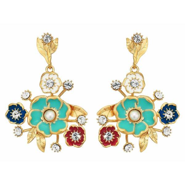 ソルソサエティ レディース ピアス&イヤリング アクセサリー Drama Bouquet Earrings 12K Soft Polish Gold/Ivory/Crystal/Multicolor