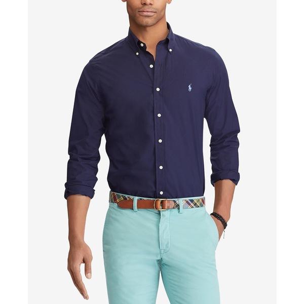 【翌日発送可能】 ラルフローレン メンズ シャツ トップス Men's Slim Fit Stretch Poplin Shirt Newport Navy, 神崎町 25bf9c1c