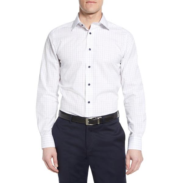 デイビッドドナヒュー メンズ シャツ トップス Luxury Non-Iron Trim Fit Check Dress Shirt White/ Blue