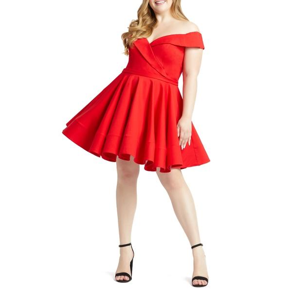 マックダガル レディース ワンピース トップス Portrait Collar Skater Dress Red