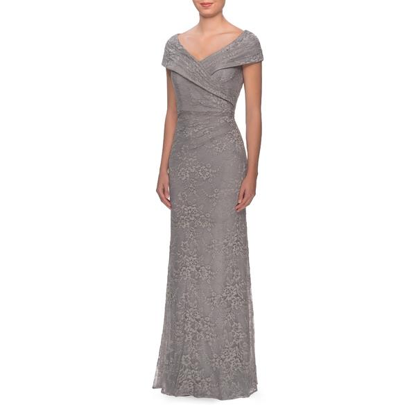 ラフェム レディース ワンピース トップス Portrait Neck Lace Gown Platinum