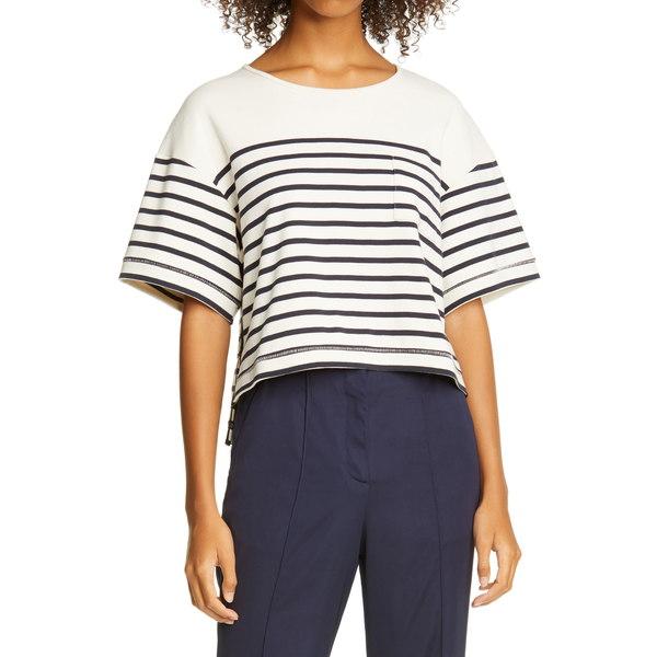ラ リンニュ レディース シャツ トップス Stripe Boxy T-Shirt Cream / Navy