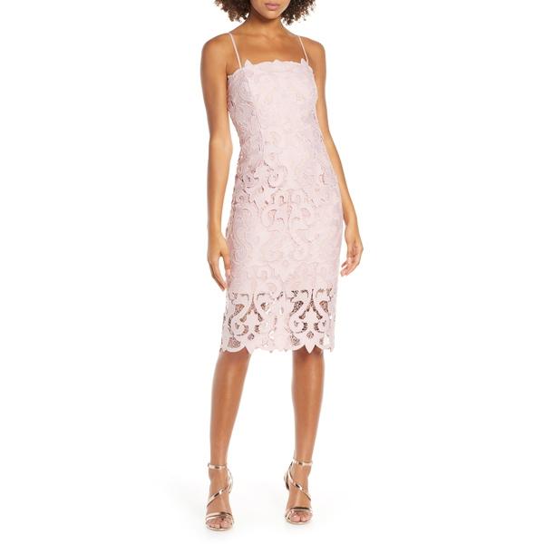 バードット レディース ワンピース トップス Lina Lace Cocktail Dress Pink Rose