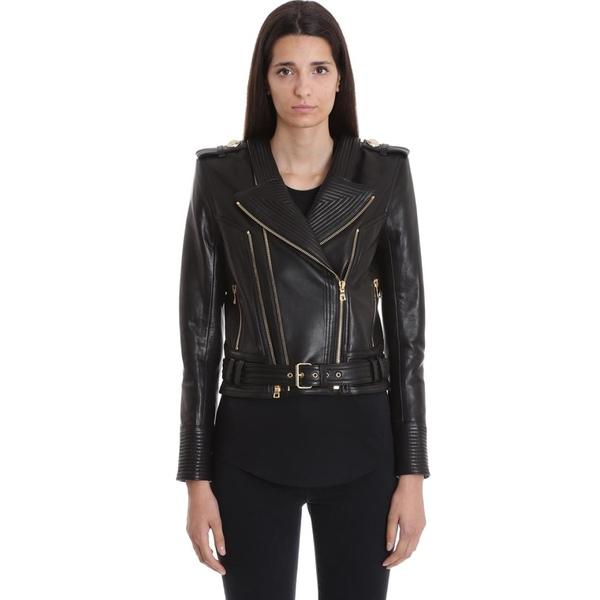バルマン レディース ジャケット&ブルゾン アウター Balmain Leather Jacket In Black Leather black