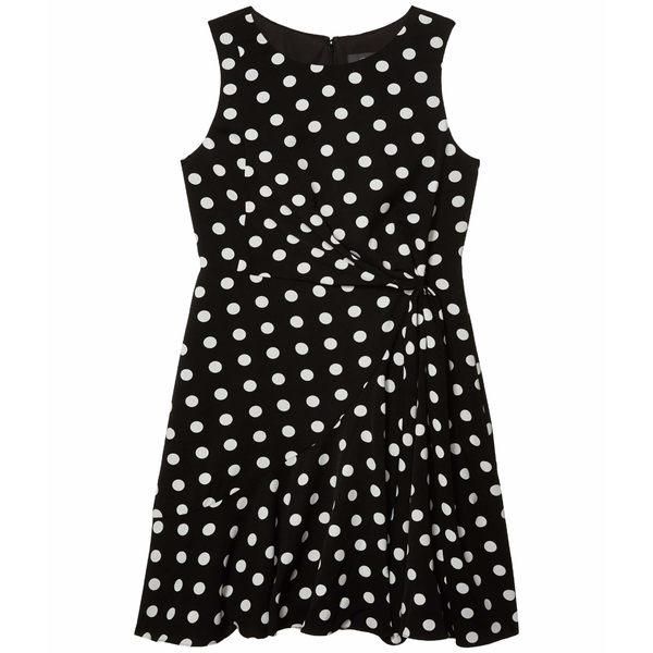 アドリアナ パペル レディース ワンピース トップス Dot Printed Fit-and-Flare Dress Black/Ivory