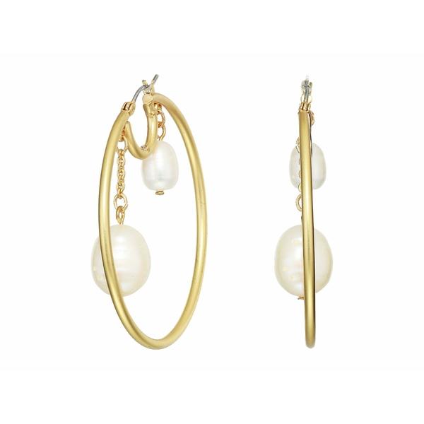 ソルソサエティ レディース ピアス&イヤリング アクセサリー 50 mm Hoop with Double Pearls Earrings 12K Soft Polish Gold/Ivory Fresh Water Pearl