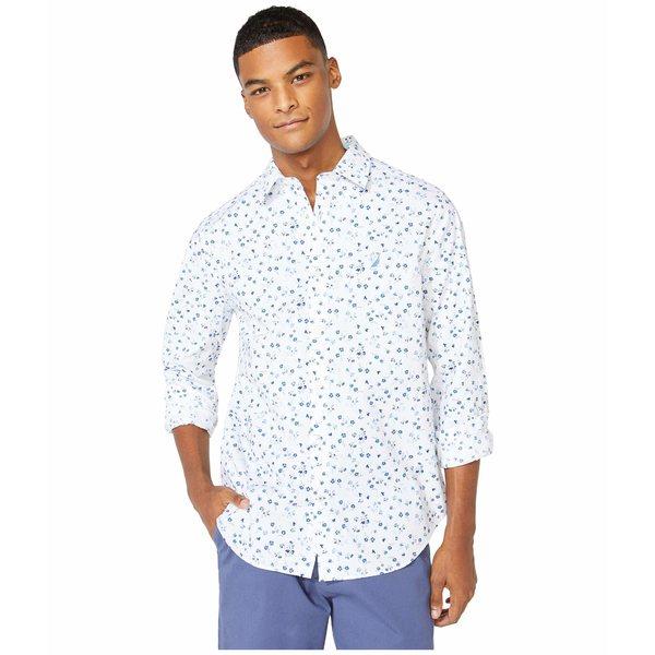 ナウティカ メンズ シャツ トップス Classic Fit Floral Print Shirt White