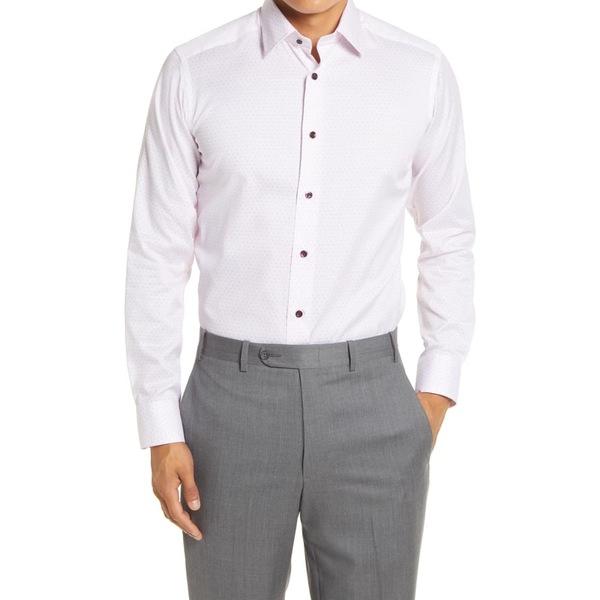 デイビッドドナヒュー メンズ シャツ トップス Extra Trim Fit Dot Print Dress Shirt Pink/ Merlot
