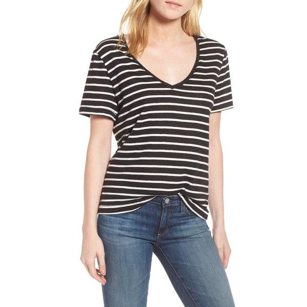 スプレンディット レディース Tシャツ トップス Stripe V-Neck Tee Black Stripe