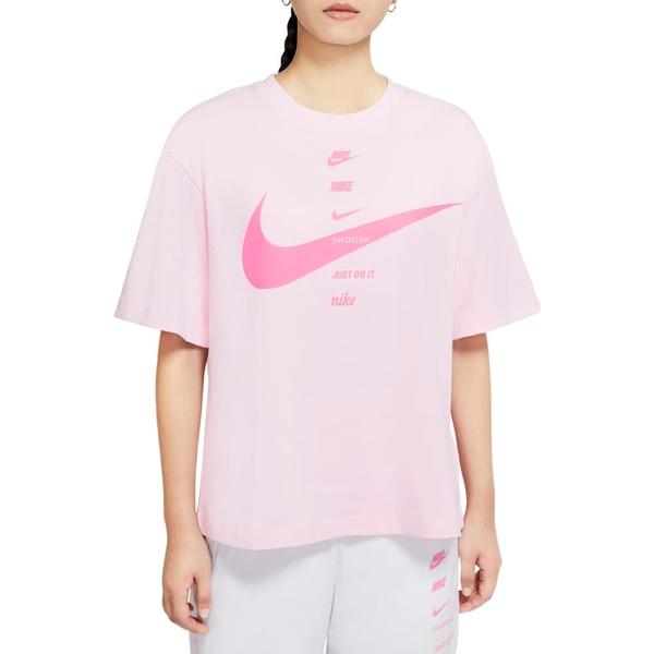 ナイキ レディース Tシャツ トップス Sportswear Logo Oversize Cotton Graphic Tee Pink Foam / Pink Glow